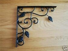 Iron Scroll Leaf Shelf /Corner /Wall Bracket 25cm Black