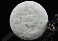 Collect Chinese natural old whitem Jade Carved Amulet Pendant Dragon