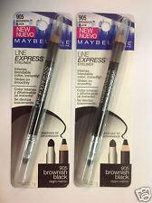 (LOT OF 2 ) Maybelline Line Express Eye Liner BROWNISH BLACK #905 NEW.
