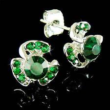 w Swarovski Crystal Irish St Patricks Shamrock ~3 Leaf Clover~ Post Earrings New