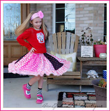 BonEful Boutique RTS GIRL 3 Hello Kitty NEW Pink Twirl Skirt Top Bow SET School