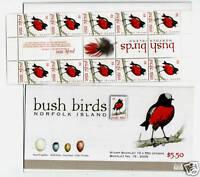 NORFOLK ISLAND 2009 BUSH BIRDS BOOKLET WITH GUTTER STRIP