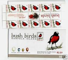 Norfolk Island 2009 Bush Oiseaux Livret avec Gutter Bande