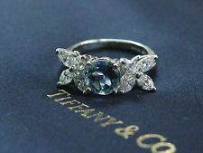 Tiffany & Co Platinum Victoria Diamond Aquamarine Ring 2.32CT PT950