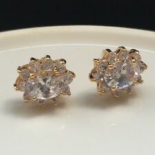 6mmx8mm Oval Zirconia White Gemstone CZ Stud Flower Earrings Yellow Gold Filled