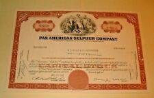 Common Stock PAN AMERICAN SULPHUR COMPANY  1968 DA 50 SHARES