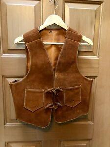 Vintage Natural Rawhide Leather Western Style Vest Pre-1965 Hippie Unbranded
