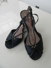 Ladies Clarks Shoes Satin Size 6 1/5  Black Wedge Style