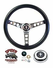 "1970-1977 Mustang and Mustang 2 steering wheel PONY 13 1/2"" CLASSIC CHROME"