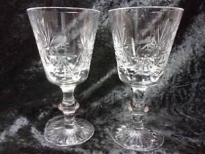 2 EDINBURGH CRYSTAL LRG WINE GLASSES, 'STAR OF EDINBURGH', ARMORIAL EAGLE', C