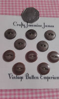 10 (2 sets of 5) Brown Fisheye 2 Hole Vintage Buttons approx 15mm Sewing Crafts