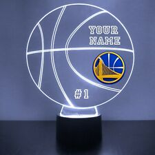 Golden State Warriors LED Night Light Personalized FREE NBA Basketball Light Up