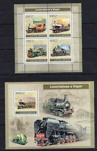 Guinea Bissau - Locomotives a Vapor - Trains - Briefmarken -Timbres  MNH** AM4