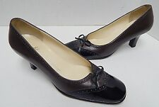 Salvatore Ferragamo 6 B Brown Leather Black Patent Spectator Bow Pumps Italy