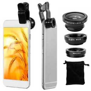 3in1 Objektiv Makro Weitwinkel Fischauge Linse Lens für Handy Tablet Schwarz