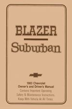 1983 Chevrolet Blazer Suburban Owners Manual User Guide Reference Operator Book