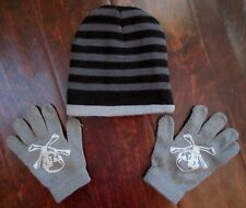 Boys Winter Snow Knit Hat Beanie and Glove Set Skull & Crossbones