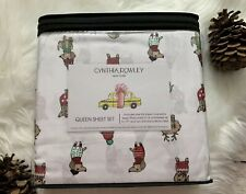 New Holiday Dachshunds Cynthia Rowley Queen 4 Pc Sheet Set Bedding Microfiber