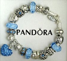 Authentic Pandora Sterling Silver Bracelet with Heart Love Blue European Charms