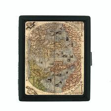 Vintage World Maps Themed D2 Small Black Cigarette Case Card Money Holder