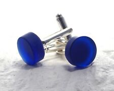Recycled Riesling Wine Bottle Cuff Links - Cobalt Blue Melted Glass - Upcycled