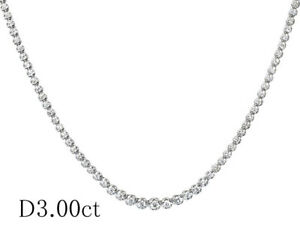Unbranded 3ct diamond platinum Pt850 Tennis necklace(F1404)