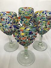 SET OF 4 MEXICAN CONFETTI WITH COLOR PEBBLES HANDBLOWN WINE GLASSES  SET OF 4