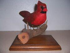 Red Cardinal Carved Wood Bird Sculpture Decoy, Jack Pinder, Leominster Ma.