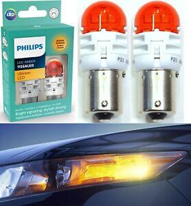 Philips Ultinon LED Light 1156 Amber Orange Two Bulbs Rear Turn Signal Lamp OE