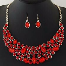 Red Fashion Women Bib Choker Crystal Pendant Chain Statement Necklace Set Ear