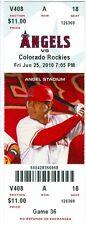 2010 Angels vs Rockies Ticket: Chris Iannetta HR/Jonathan Herrera RBI single 11t
