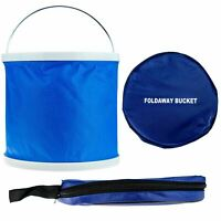 11L Blue Foldaway Bucket Storage Container Travel Cleaning Car Camping Fishing