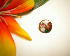 ANTIQUE GILT BRASS CHAMPLEVE ENAMEL BUTTON W BUTTERFLY & HAND PAINTED PINK ROSE