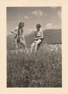 Vintage Foto Hübsche Mädchen Sportdress lange Haare 30er Jahre