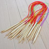 18 stk Rundstricknadeln Bambus Häkelnadel Schlauch 80cm Stricknadeln bunt 2-10mm