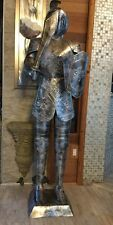 New Vintage Antique Aluminum Silver Knight W Sword &Shield Statue Life Size 5ft2
