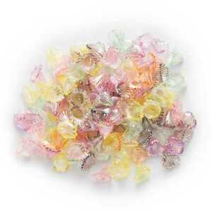 100pcs Acrylic Flower Beads Spacer Bead Caps for Jewelry Headwear Making 12mm