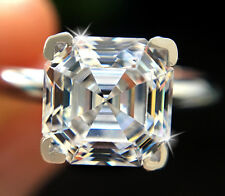 1 ct Brilliant Asscher Ring Top Russian Quality CZ Sterling Silver Size 8