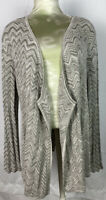 Chico's Women's Cardigan Sweater Size 3 Open Front Sz XL Tunic Long Sleeve NWOT