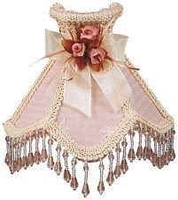 "Victorian Night Light Pink w/ Brocade Trim Rosette & Hanging Beads 6.5"" x 5"""