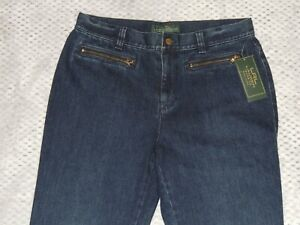 Lauren Jeans Straight Womens Zip Front Pockets Seafarer Size 8 NWT