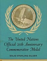 Franklin Mint United Nations 25th Ann Sterling Silver Medal Unusual Holder