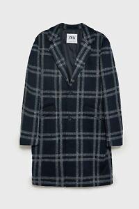 Zara AW 2019/20 Navy Checked Coat Free P&P NEW