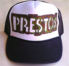 Preston or Any Name Gift Trucker Hats Caps Personalized Custom Airbrush Art