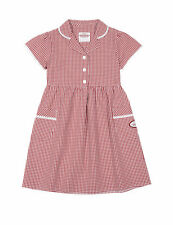 m&s frozen motif red checked school dress age 8/9  years