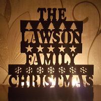 Personalised Tea Light Candle Holder, The Family Christmas, Paintable Oak Veneer
