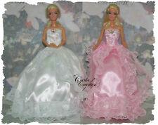 Féerique Robe  De Bal Blanche Princesse Mariage Poupée Barbie Mannequin Dress