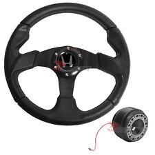JDM 320mm Steering Wheel & Boss Kit Hub Adapter & Silver Emblem For Honda civic
