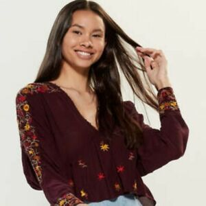 Free People Women's Ava Embroidered Top Size XS NWT