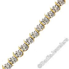 10K TT Gold 0.70ctw Illusion Set Round Diamond Wavy S Link Tennis Bracelet